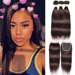 WOME Peruvian Virgin Human Hair 3 Pcs Silky Straight Hair Bundles with Closure Color Straight Hair Bundles Dark Brown Color (14 16 18+14 Closure, Color #2)