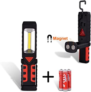 VIBELITE COB Multifunctional Work Light Wide Beam Flashlight for Home Auto Batteries Included,Red