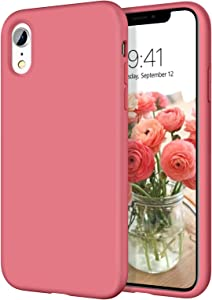 iPhone XR Cases, iPhone XR Case DOMAVER Slim Lightweight Smooth Liquid Silicone Soft Gel Rubber Microfiber Lining Cushion Texture Cover Shockproof Protective Phone Cases for iPhone 10 XR, Camellia