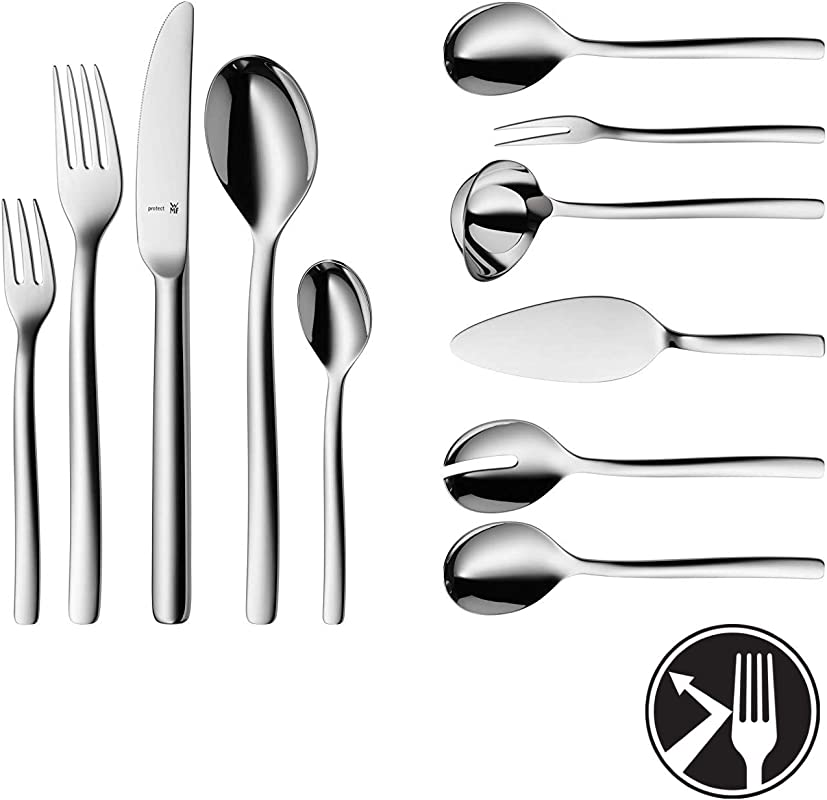WMF Cutlery Set ATIC Cromargan Protect Stainless Steel Brushed Extremely Scratch Resistant Monobloc Knives 66 Pieces 12 People