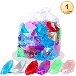 Acrylic Diamond Gems and Jewels, Bulk 1 Pound Bag,Approximately 60 Pieces, Assorted Colors