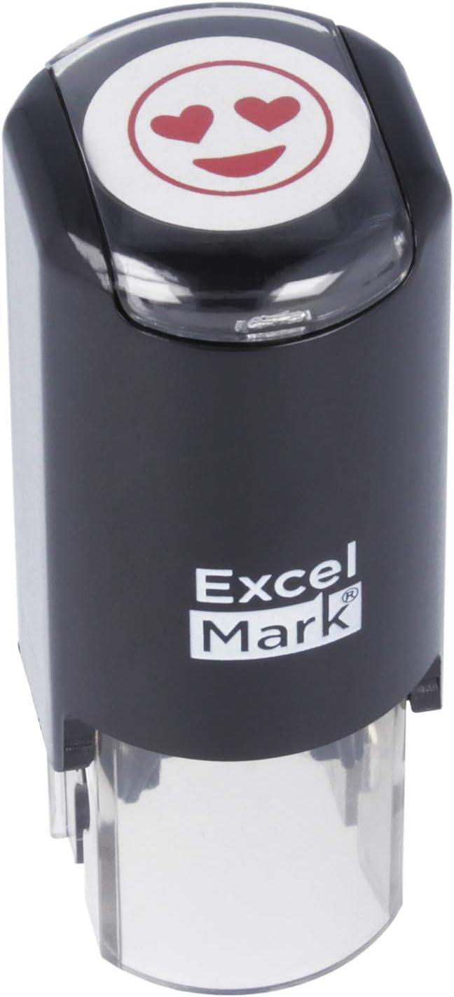 Heart Eyes Smiling Emoji - ExcelMark Round Teacher Stamp - Red Ink