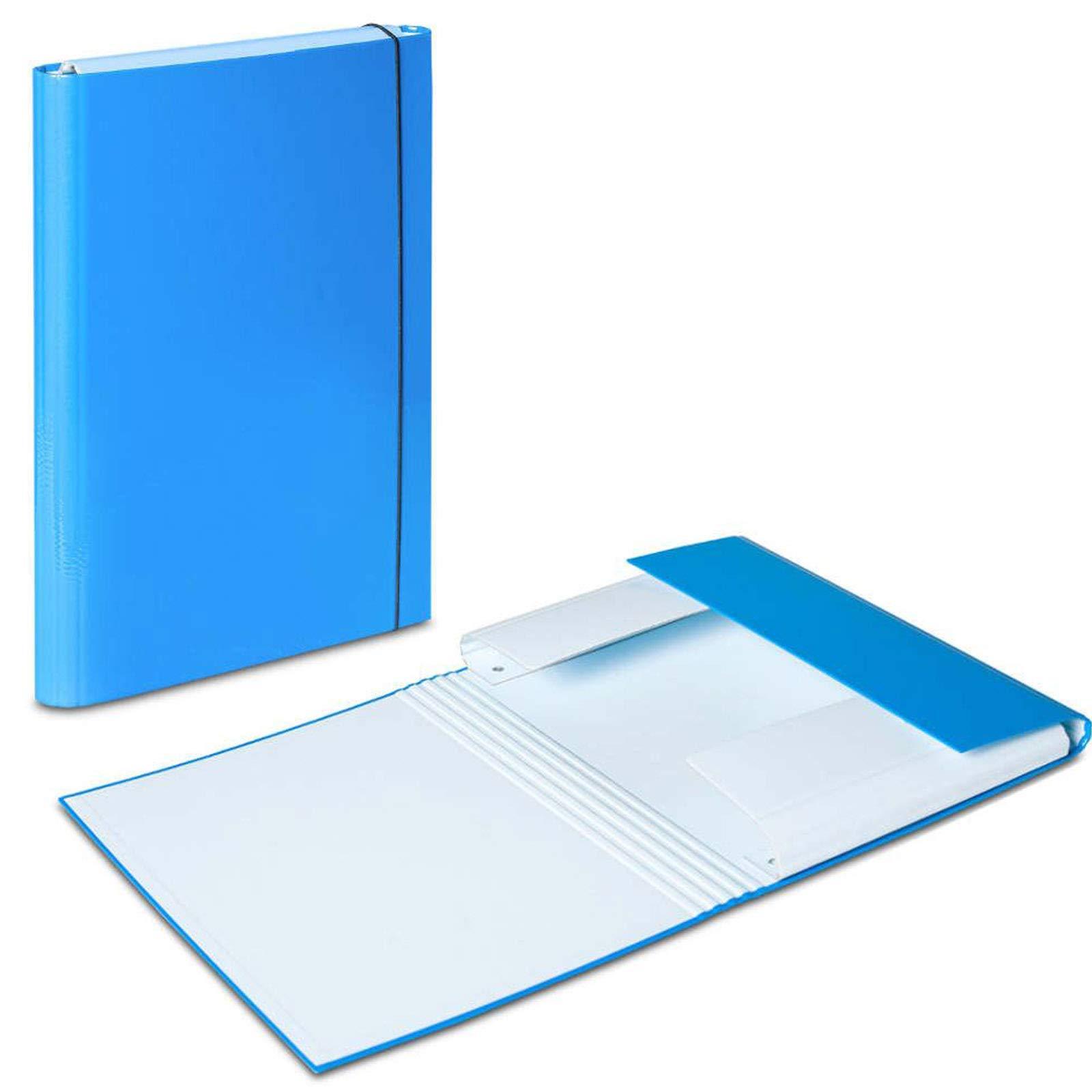 3 x azul – azul pastel A4 documento carpeta elástica banda caja de almacenaje organizador de archivos carpetas tamaño folio papel cartón duro Duo colores: Amazon.es: Oficina y papelería