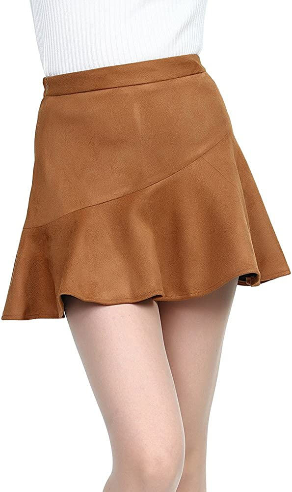 SJJH Women Faux Suede Fishtail Short Skirts with Underneath High Waist Skirts Wear to Work Vintage Pencil Mini Skirts