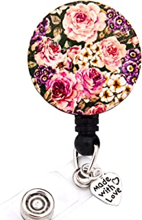 HEYGOO Peony Retractable Badge Holder with Pendant, Floral ID Badge Reel Clip