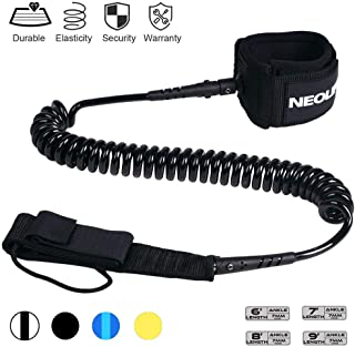 Neolife Coiled Premium Surfboard Leash,Stand up Paddle Board Leash Ankle Strap Leg Rope with Double Stainless Steel Swivels for Longboard Snowboard Sup Leashes 6/7/8/9 Feet