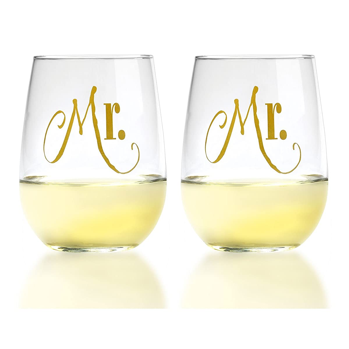 Mr. and Mr. Gay Couple Gold Stemless Wine Glasses With Gift Box - His and His Same Sex Set - Engagement, Wedding, Anniversary, House Warming, Host Gift, 17 Ounce