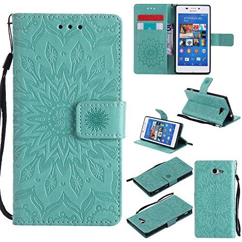 ViViKaya Handyhülle für Sony Xperia M2,Schlanke Leder Brieftasche hülle Flip Folio Handytasche für Sony Xperia M2 [Grün]