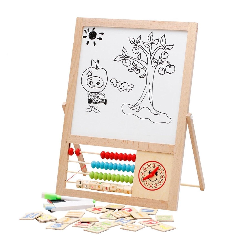 [ドリーマー] お絵描き 黒板 ホワイトボード 両面使用可能 子供用 キッズ ベビー 勉強 黒板消し/マーカーペン付き 時計/珠算ビーズ/磁気数字付き 持ち運び可 便利 知育玩具 早期開発