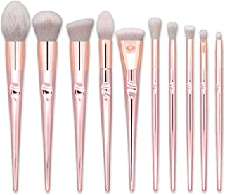 Makeup Brushes Real Techniques Hamkaw 10 Pieces Face Blush Eyeshadow Foundation Powder Cosmetic Brushes Concealer, Pink Travel Makeup Brushes For Beginner(Rose Gold)