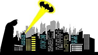 ChicWalls Removable Gotham City Skyline Batman Silhouette Logo Ray of Light Wall Art Decor Decal Vinyl Sticker Mural Kids Room Nursery 60