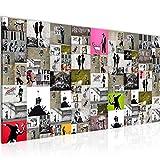 Bilder Banksy Collage Wandbild 100 x 40 cm Vlies - Leinwand