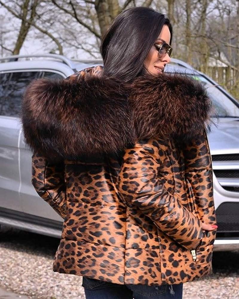Roiii Damenmode Top Jacke Mantel Parka Daunen Hohe Taille Schlanker Kunstpelz Kapuzenmantel Leopard