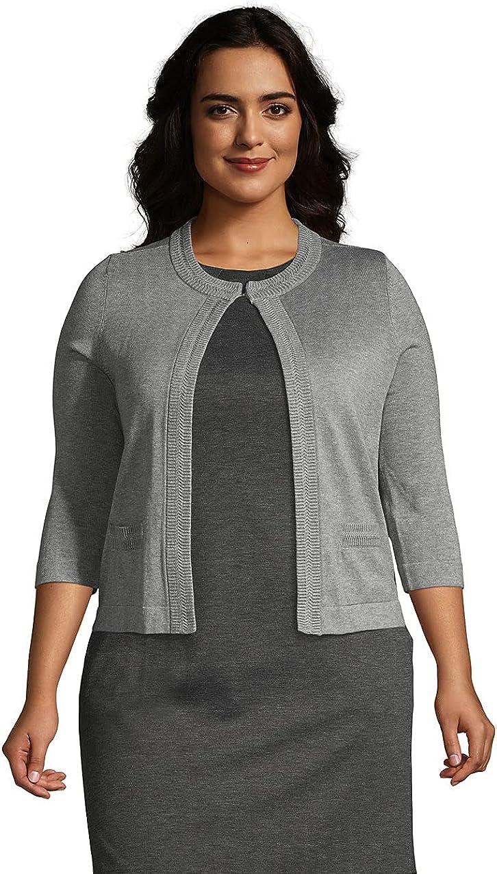 Lands' End Women's Cotton Modal 3/4 Sleeve Novelty Stitch Trim Cardigan Sweater