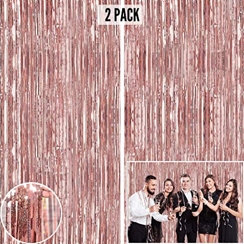 Rose Gold Foil Fringe Curtain Backdrop (2 Pack) - 9.8 x 3.3 ft Photo Booth Backdrop Curtain for Parties - Tinsel Curtain Fringe Backdrop Party Decorations for Birthday, Wedding or Bachelorette Party