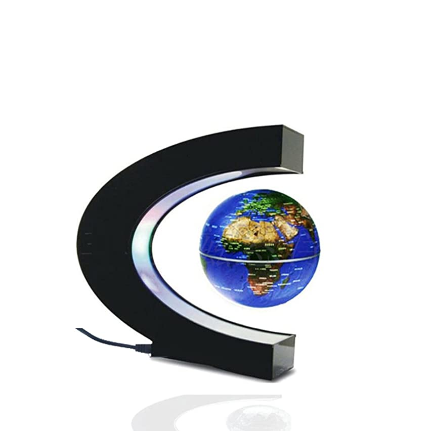 Glovion C Shape Magnetic Field Levitation Globe World Map with LED Decoration Light -Blue