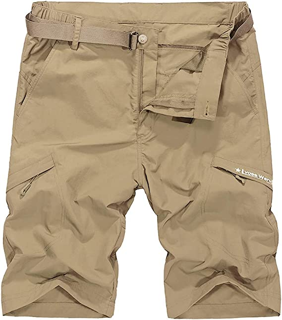 No Belt Kolongvangie Mens Outdoor Super Lightweight Quick Dry Hiking Casual Cargo Shorts with Multi Pockets
