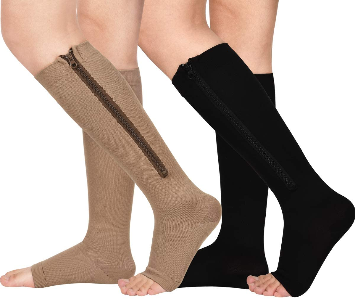 Limited price sale 2 Pairs Zipper Compression Socks 15-20 Direct stock discount Women Open Men for mmHg