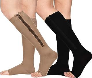 2 Pair Zipper Compression Socks for Women Men Open Toe Compression Socks Easy on
