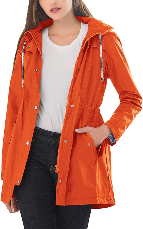 BOXIACEY Jackets for Women Waterproof Windbreaker Winter Coat Solid Outdoor Hiking Trips Hooded Raincoat Outerwear