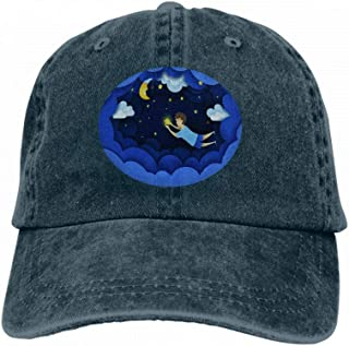 Neutral Cotton Denim Adjustable Hat Men Women Child Touching Stars Sky Kids Dream Paper Art Origami Style Navy