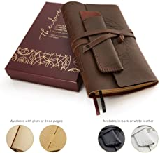 Leather Journal Writing Notebook + Pen Holder. Handmade Genuine Leather Notepad For Men & Women to write in. Paper 8 x 6 Inches. Great Travel Diary. Perfect Gift