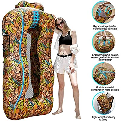 SEGOAL Ergonomic Inflatable Lounger Beach Bed Camping Chair Air Sofa Couch Hammock with Pillow Portable Waterproof Anti-Air Leaking for Camping Hiking Travel Beach Picnic Lakeside, No Pump Required