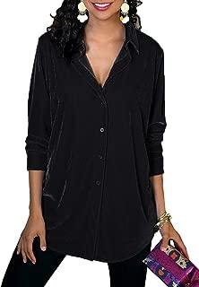 Womens Velvet Button Down Tunic Long Sleeve V Neck Boyfriend Blouse Shirts Tops