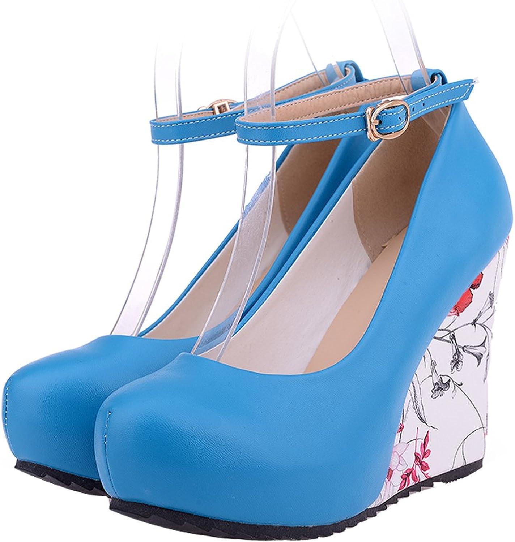 AIWEIYi Womens Round Toe Print Wedge Heel Ankle Strap High Heels Pump shoes bluee