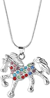 Nimteve Girls Necklaces Silver Tone Multicolored Crystals Horse Pendant Pony Mustang Charm Necklace for Little Girls 18 In...