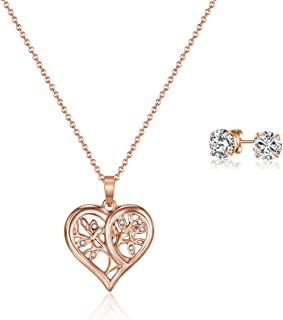 Mestige Rose Gold Tender Tree of Life Set with Swarovski Crystals