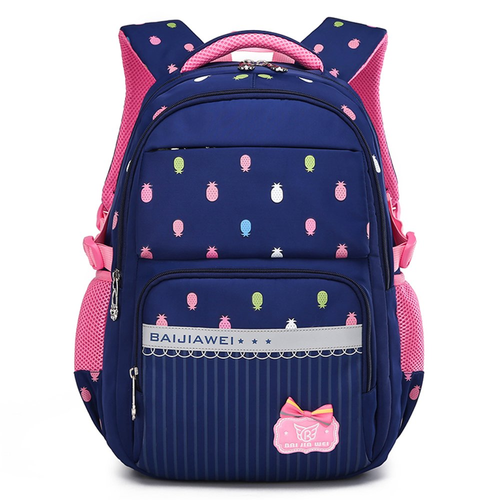 BJW 小学生1年级-6年级男女生大容量书高透气耐磨尼龙防水包双肩包背包旅行包 户外运动休闲减压防水书包733B (733B印花蓝色)