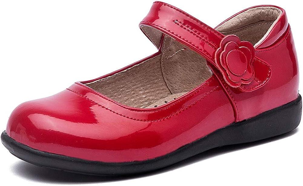 SWDZM Girl's Ballet Flats Mary Jane Dress Shoes Soft Leather Nonslip Rubber Sole (Toddler/Little Kid) Model-KM222