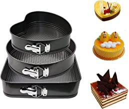 Baking Pan Mold Set 3Pcs Durable Non-stick Leakproof Cake Pan Bakeware with Quick Release Latch and Removeable Bottom Gift
