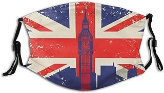 HARXISE Britain-flag-big-ben-london-143070958src=3JjE2Ei8_ytRBfVZiWp-NA-9-69 Dust Washable Reusable Filter and Reusable Mouth Warm Windproof Cotton Face