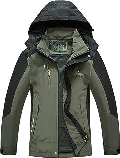 Donhobo Mens Waterproof Raincoat Outdoor Hooded Lightweight Hiking Windproof Rain Jacket