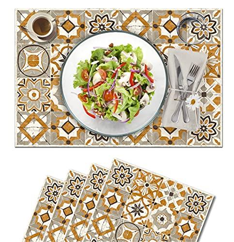 Vilber, juego de 4 manteles individuales Vinilo (30,5x45,6x0,22 cm), Antimanchas, Antideslizantes y resistentes al calor. Combinables con caminos de mesa y alfombras. KOLLAR 04