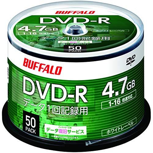 バッファロー データ用 DVD-R 1回記録用 4.7GB 50枚 スピンドル 片面 1-16倍速 ホワイトレーベル RO-DR47D-050PW/N
