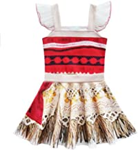 Jurebecia Moana Costume Vestito per Ragazze Abiti da Carnevale Senza Maniche Festa di Compleanno di Halloween Cosplay Abbigliamento per Bambini