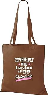 Shirtinstyle Bolsa de Tela, Superhéroes sin Espada Láser y Capa Nennt Man Madrina, Bolsa de Algodón, Bolsa - marrón Medio,...