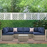 Laurel Canyon Outdoor Patio Furniture 7 Piece Rattan Sectional Sofa, Wicker Conversation Sets with Faux Wood Top Tea Table and Cushions, Grey