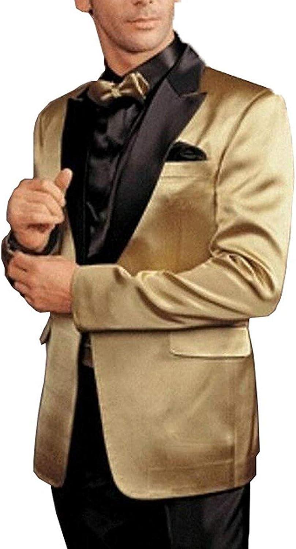RONGKIM Men's 2-Piece Gold Tuxedos Formal Men's Suit Suit Blazer Suit Trousers