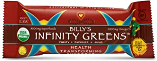 Billy's Infinity Greens Health Transforming Superbar, Organic Ingredients Enhanced with Algae Based Superfood Formula, Raw Non GMO and USDA Certified Organic, Full Case of 12 Bars
