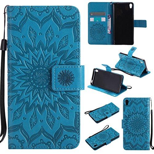 LMAZWUFULM Hülle für Sony Xperia E5 (F3311 / F3313) 5,0 Zoll PU Leder Magnetverschluss Brieftasche Lederhülle Sonnenblume Prägung Design Stent-Funktion Ledertasche Flip Cover für Sony E5 Blau