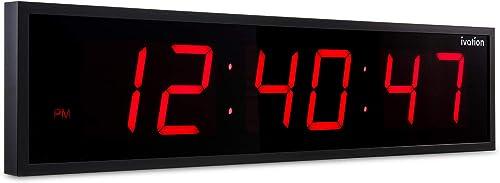 new arrival Ivation Huge Large Big Oversized Digital LED outlet online sale Clock - Shelf or Wall Mount (24 Inch - Red)   6-Level Brightness, Mounting Holes & popular Hardware sale