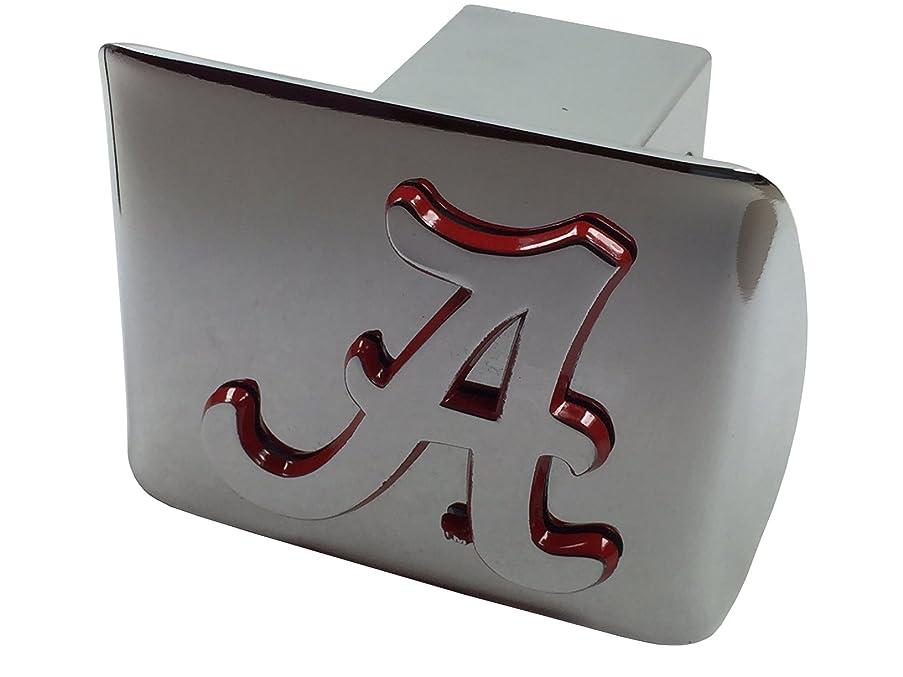 University of Alabama METAL emblem (chrome with crimson trim) on chrome METAL Hitch Cover