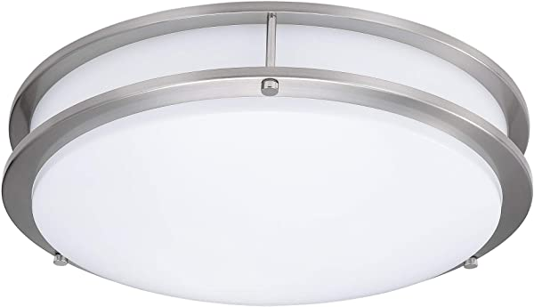 6 Pack 15 Inch Double Ring Dimmable LED Flush Mount Ceiling Light 22W 100W Equivalent 1800lm 4000K Natural White Brushed Nickel Finish With Plastic Shade ETL Listed Commercial Or Residential