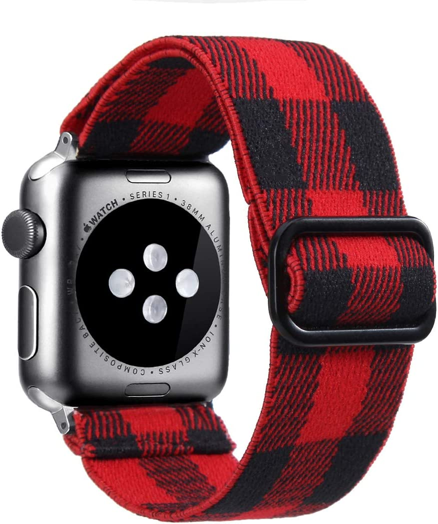 Nylon Adjustable Elastic Watch Band Compatible with Apple Watch 38mm 40mm 42mm 44mm,Buffalo Plaid Stretchy Loop Strap Women Replacement Wristband Wristbelt for iWatch Series SE/6/5/4/3/2/1