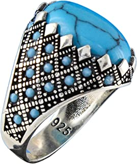 Solid 925 Sterling Silver Turkish Handmade Simulated Turquoise Luxury Men's Ring
