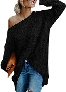 Women's One Shoulder Mohair Jumper Long Sleeve Pullover Baggy Solid Sweater